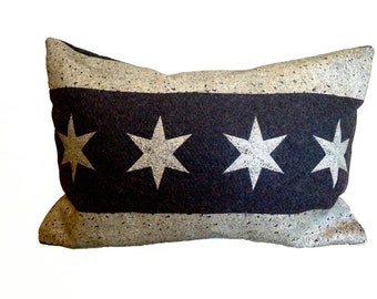 Chicago Flag Pillow Cover from Military Blanket - Charcoal Gray