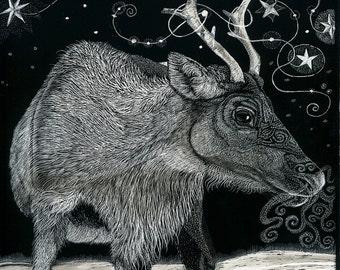Reindeer Art Card