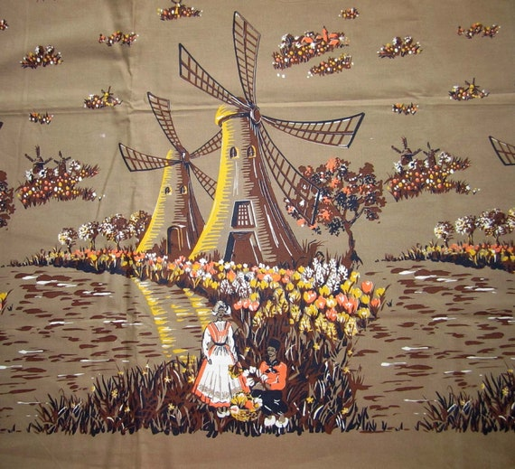 Vintage Novelty Print Fabric - 40s-50s Windmill & tulips print - 2.5 yds x 35""