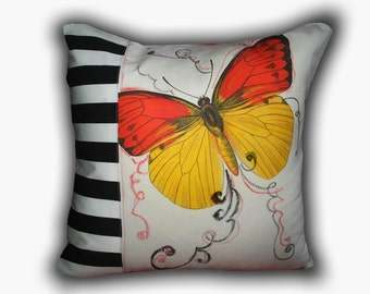"""Free US shipping OOAK Vintage Designer White Linen Red Burlap16x16"""" Pillow Cover Handprinted Butterfly Design"""