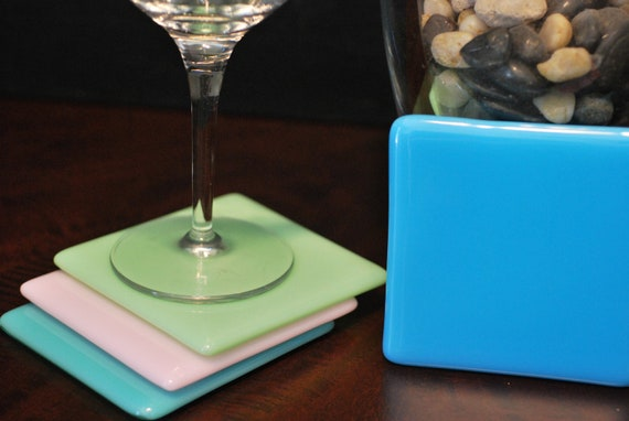 Fused Glass Coasters - Set of 4 - Pastels