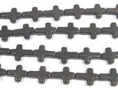 12x16mm Cross Black Magnestite Bead Semiprecious Gemstone Bead Strand Wholesale Beads 4971   - 15''L Jewelry Supply Wholesale Beads