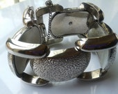 1950-60's Chunky Silver Tone Linked Bracelet with Security Chain