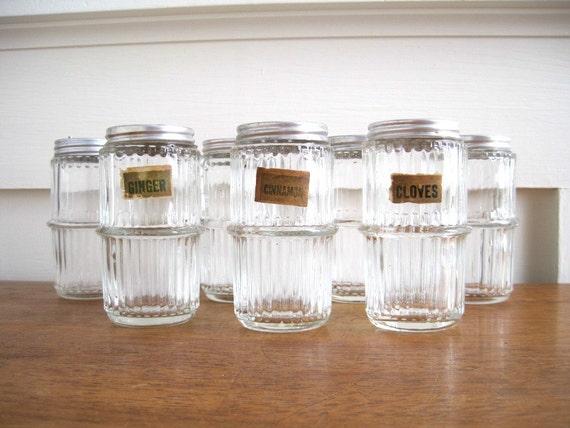 Vintage Hoosier Glass Spice Jars - Cottage Kitchen