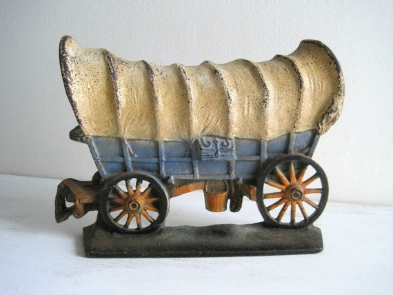 Vintage Cast Iron Conestoga Wagon Door Stop - Western Chic