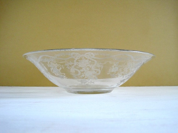 Vintage Etched Crystal Flared Bowl - Fostoria Romance