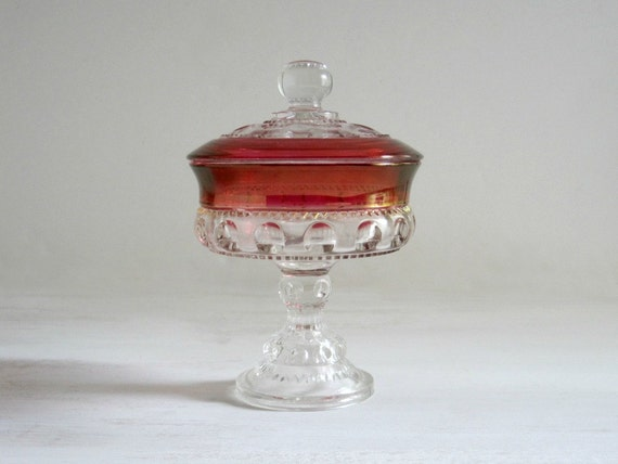 Vintage Cranberry Glass Compote - King's Crown