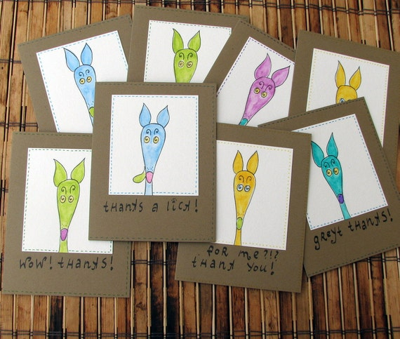 Greyhound thank you cards original watercolor silly old greyhound set of 4 cards with envelopes