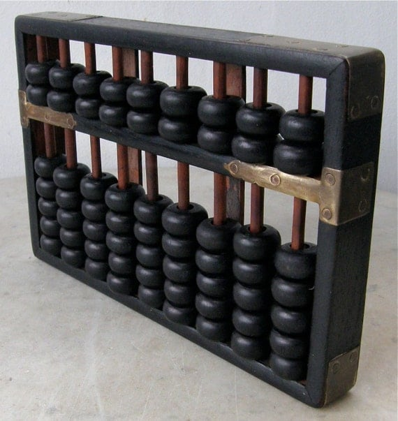 Vintage CHINESE ABACUS Wooden Beads and Frame with Brass HInges