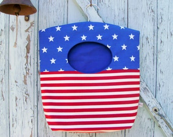 clothes pin bag - stars and stripes laundry bag - patriotic hostess gift -  eco friendly - practical gift