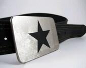 Black Star Belt Buckle - Stainless Steel - Handmade