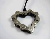 Recycle Bike Chain Heart Pendant - Handmade - Welded