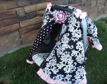 Carseat Canopy Elegant Ruffle Cover black pink carseat cover nursing cover