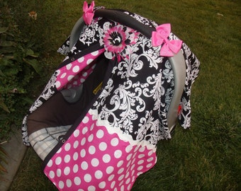 Girl Carseat Canopy Elegant Scroll Dots FREESHIPPING Code