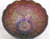 Imperial Hattie Purple Carnival Glass Bowl