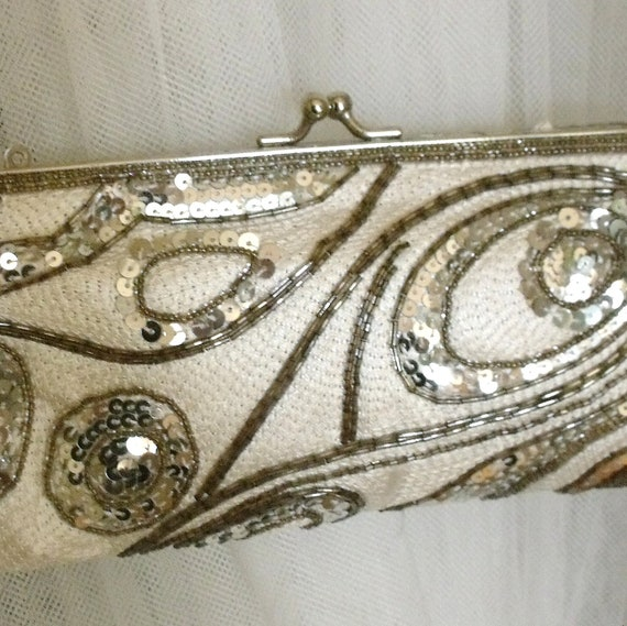 SALE Sequence beaded purse Bridal Evening ivory