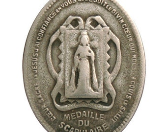 """Antique Silver Holy Mother of Grace SCAPULAR MEDAL signed BOURGEOIS on 18"""" sterling silver rolo chain"""