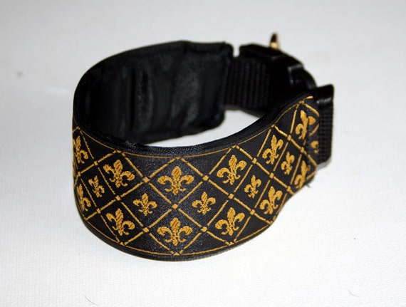 Favourite Flowers Collection - Fleur de Lis Black and Gold Italian Greyhound Collar