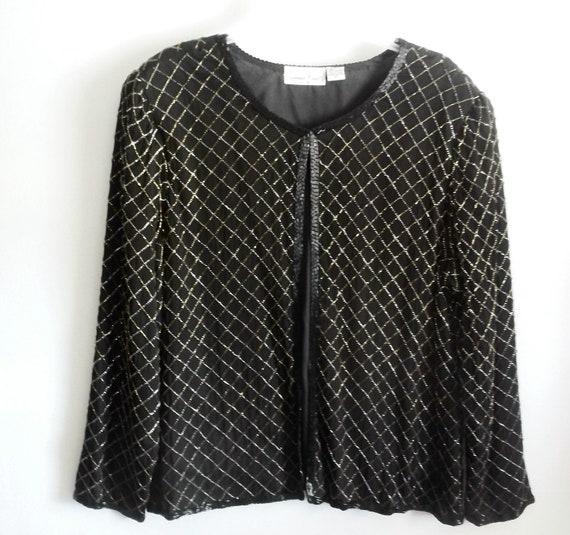 Laurence Kazar silk beaded jacket 3x 24 plus sizes black evening holidays womens
