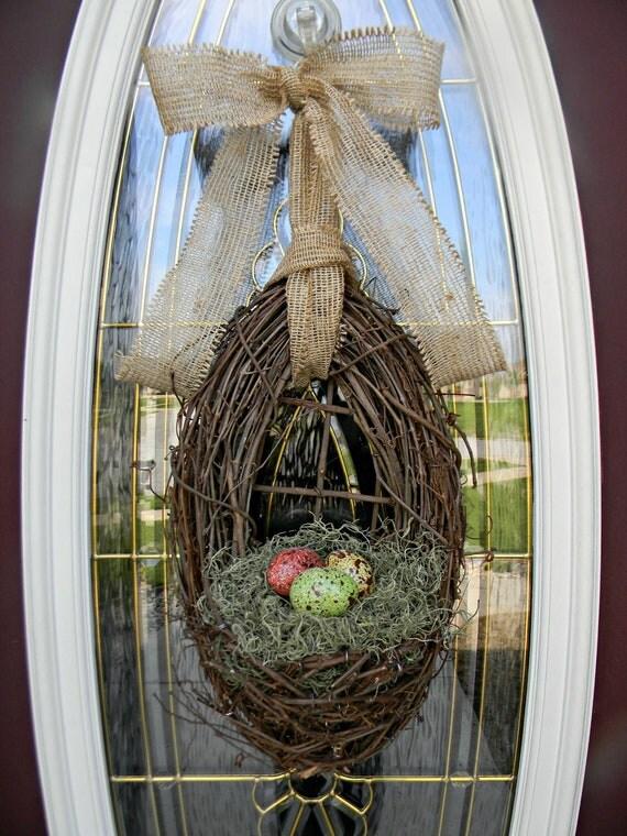 Spring Wreath Easter Wreath Grapevine Door Wreath Basket