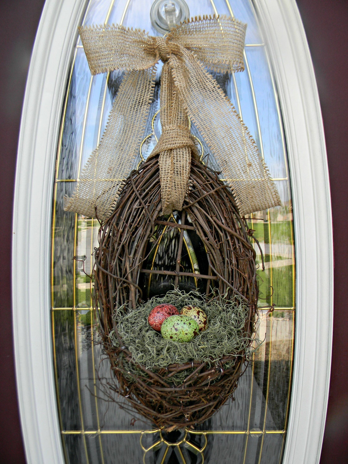 Spring Wreath Easter Wreath Grapevine Door Wreath Basket