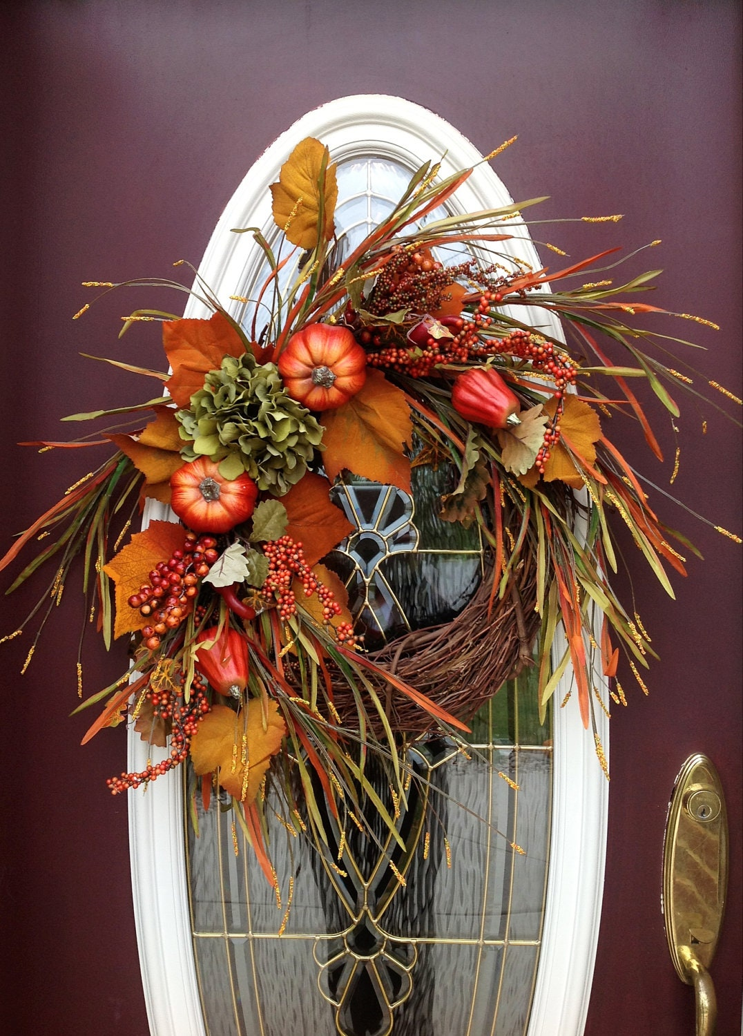 Fall Autumn Thanksgiving Grapevine Door Wreath