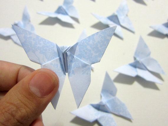 20 Sky Blue Origami Butterflies. Minimalist. Wedding