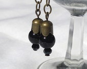 Shimmering Black Glass Bead and Crystal Dangle Earrings
