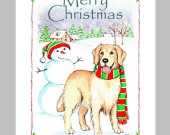 Golden Retriever Christmas Card Box of 16 Cards & Envelopes