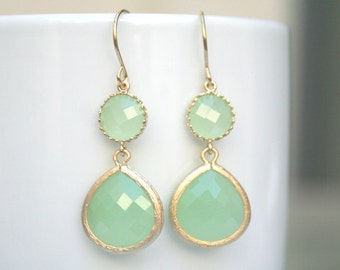 Mint Chalcedony Earrings in Gold. Mint Green Earrings.Mint Earrings.Light Mint.Mint. Bridesmaid Earrings. Bridesmaid Gift.Wedding Jewelry