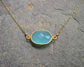 Aqua Chalcedony Necklace in 14K Gold Fill, Bezel Set Gemstone Necklace, Aqua Blue Gold Necklace