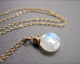 Moonstone Necklace in 14K Gold Fill, Wire Wrapped Gold Gemstone Necklace, June Birthstone Rainbow Moonstone Jewelry