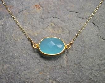 Aqua Chalcedony Necklace in 14K Gold Fill, Bezel Set Gemstone Necklace, Aqua Blue Gold Necklace