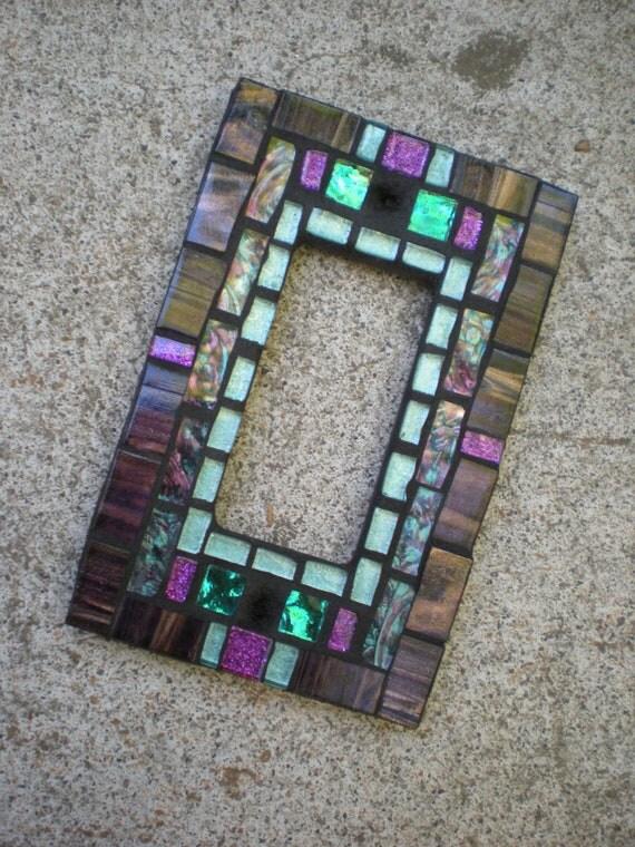 Mosaic Rocker Light Switch Cover - Purple, Aqua, and Teal- Glass Decora Switchplate
