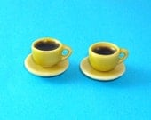 Coffee for 2 - 2 Yellow Ceramic  Coffee cups and Saucers  for Dollhouse 1/12 Scale