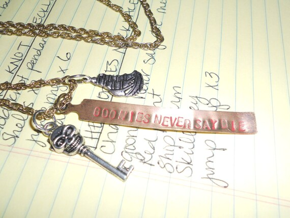 The Goonies 1980's Movie Metal Stamp Gold and Silver Charm Necklace