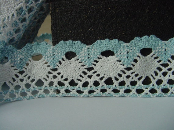 2 yards blue with white Trimed Cotton Crochet Lace Trim