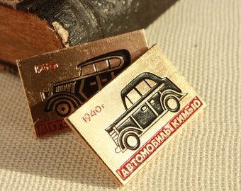 2 Cute Rare Badges - Vintage Pin - Car