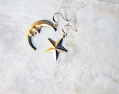 LOW STOCK - no. 114 - vintage brass crescent moon and star earrings