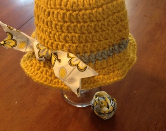Cloche -- Brimmed Beanie -- Girls' -- Mustard Yellow, Light Grey Stripe, Clip-On Fabric Rosette or Clip-On Fabric Bow