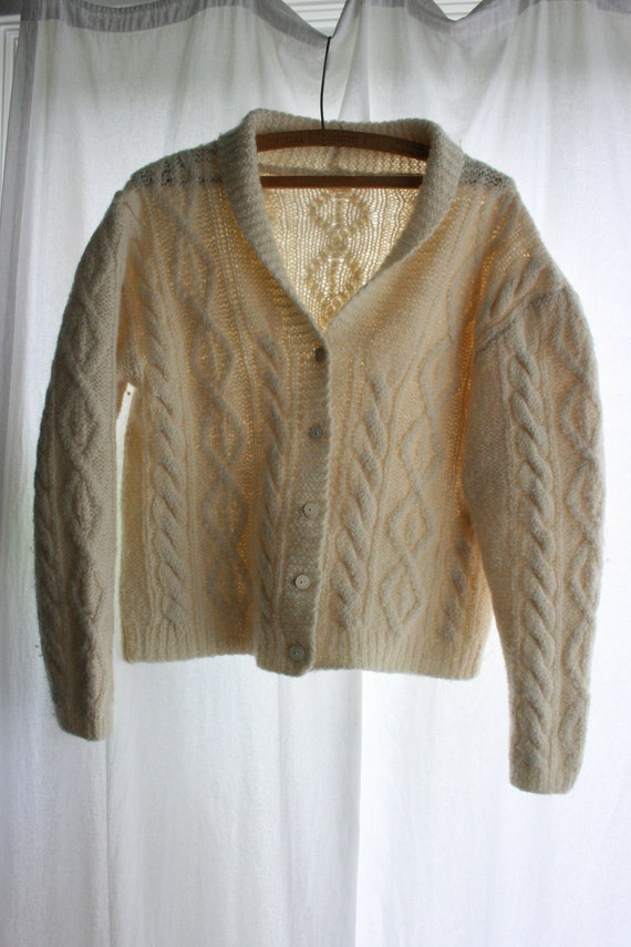 Vintage Wool Button Up Cropped Sweater in Cream