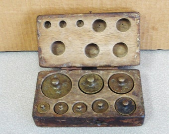Antique Set Of Brass Scale Weights In Original Hand Made Wooden Box.