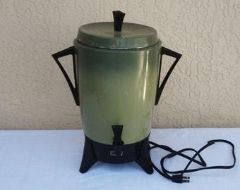 Vintage SUNBEAM Electric Avocado Green 30 Cups Coffee Percolator Urn.