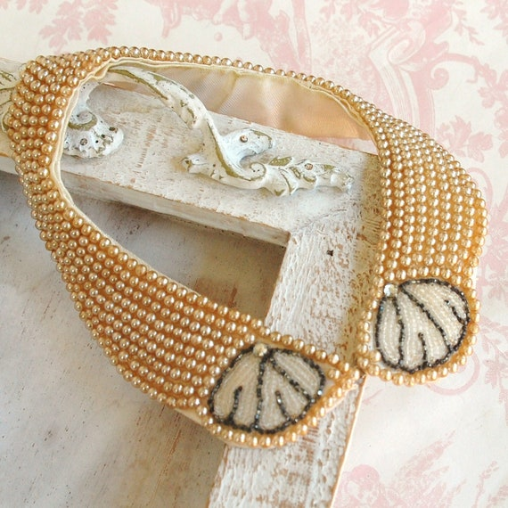 Vintage Seashell Beaded Collar by Truly Regal Art Craft