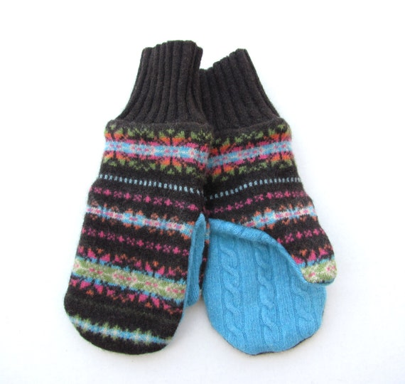 Recycled Wool Mittens Fleece Lined Brown Turquoise Avocado Green Pink and Orange Fair Isle