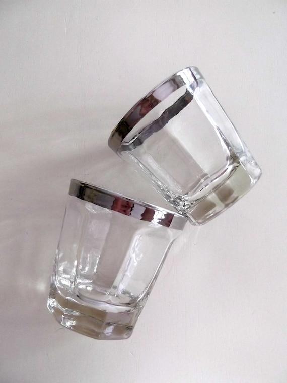 Silver Rimmed Scotch High Ball Glasses Mad Men Beverage Vintage 1960s Set of 2