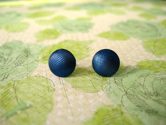 Fabric Cloth Button Earrings, Blue Earrings, Blue Cloth Earrings