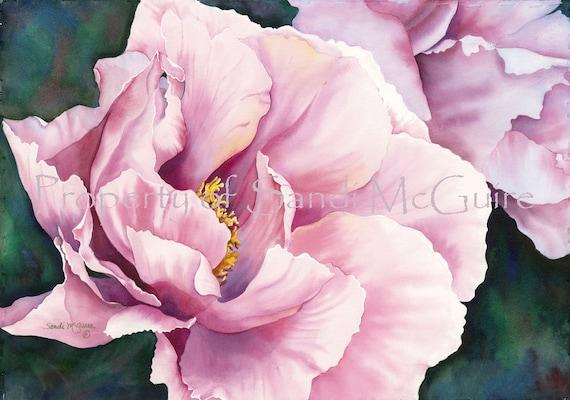 "Original Watercolor Print ""Peony II"" by Sandi McGuire"