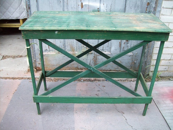 Industrial Factory Table bead board top criss- cross base original green paint