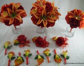 Red And Orange Rose Bridal Bouquets Lily Bouquets Real Touch calla lilies Bouquets with Bling Tropical Beach Bouquets 14 Piece Made To Order